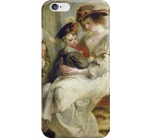 Peter Paul Rubens - Helene Fourment With Two Of Her Children. Mother with kid portrait: woman, well dressed, female,  son, daughter, embrace, family,  hat, memory, mom mum mammy mam, Helene iPhone Case/Skin