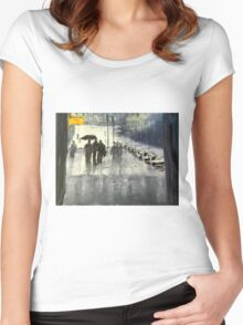 Rainy City Street Women's Fitted Scoop T-Shirt
