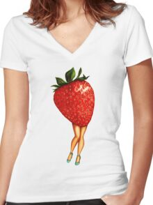 Fruit Stand - Strawberry Girl Women's Fitted V-Neck T-Shirt