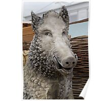Wild boar statue at the RHS Chelsea Flower Show Poster
