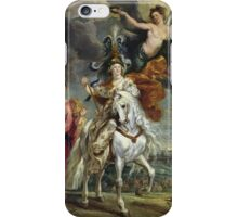 Peter Paul Rubens - The Medici Cycle The Triumph Of Juliers. Woman portrait: Women, queen, Victoria, Goddess, white stallion, riches, laurels,  lion, sky , Triumph, Way iPhone Case/Skin