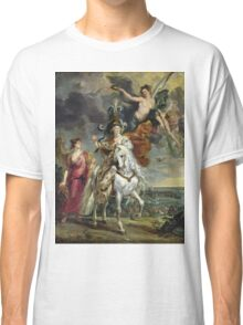 Peter Paul Rubens - The Medici Cycle The Triumph Of Juliers. Woman portrait: Women, queen, Victoria, Goddess, white stallion, riches, laurels,  lion, sky , Triumph, Way Classic T-Shirt