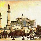 A digital painting of Ayasofya Mosque, formerly the Church of Hagia Sophia, Istanbul 19th century by Dennis Melling