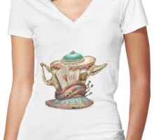 Tea hat from M. Hatter Women's Fitted V-Neck T-Shirt