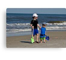 Sam and Max on beach  Canvas Print