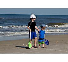 Sam and Max on beach  Photographic Print