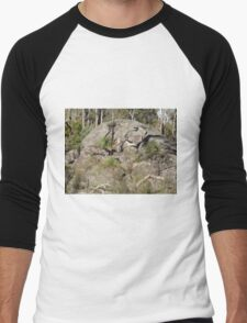 A large rock in a large nature reserve Men's Baseball ¾ T-Shirt