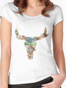 cow skull watercolor Women's Fitted Scoop T-Shirt