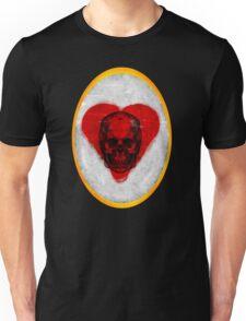 Aged Skull Heart Cameo Unisex T-Shirt