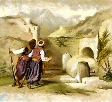 A digital painting of the Tomb of Joseph at Shechem by David Roberts 1839 by Dennis Melling