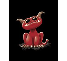 Cute red monster - on black Photographic Print