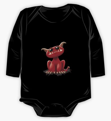 Cute red monster - on black One Piece - Long Sleeve