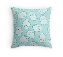 Blue Ghost Pattern Throw Pillow