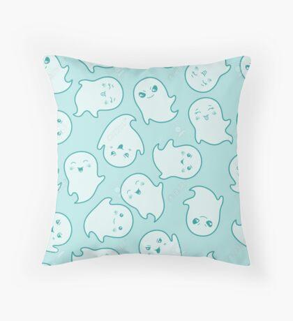 Blue Ghost Pattern Throw Pillow