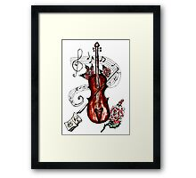 Violin with Notes 2 Framed Print