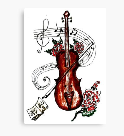 Violin with Notes 2 Canvas Print