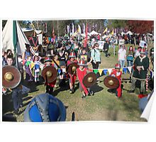 Children Charging into Battle at Medieval Fayre Poster