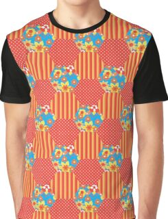 Orange Floral Faux Patchwork Hexagons Pattern Graphic T-Shirt