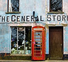 Old Stores and Red Telephone Box by Heidi Stewart