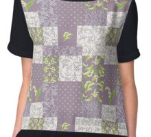Lily-of-the-Valley Faux Patchwork Mauve Chiffon Top
