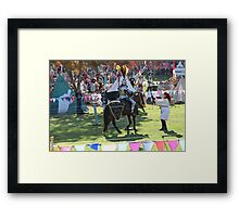 Knight being handed his Lance at Medieval Fayre Framed Print