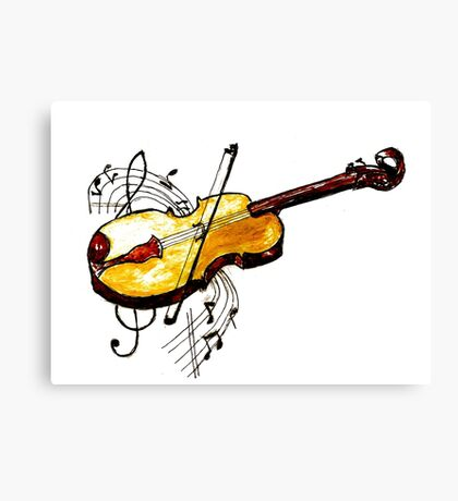 Violin with Notes Canvas Print