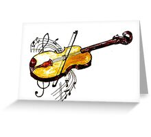 Violin with Notes Greeting Card
