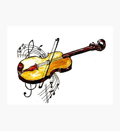 Violin with Notes Photographic Print