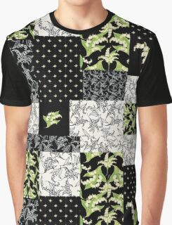 Lily-of-the-Valley Faux Patchwork Black Graphic T-Shirt
