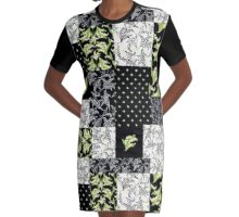 Lily-of-the-Valley Faux Patchwork Black Graphic T-Shirt Dress