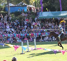 Knight Charges Lance at ready in Jousting Battle at Medieval Fayre by JimmyChi