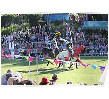 A Knight is wounded in Jousting Battle at Medieval Fayre Poster