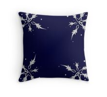 Deconstructed Frosty Snowflake in Midnight Blue Throw Pillow