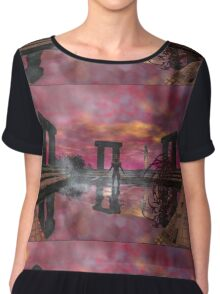 TEMPLE OF WATER /HYPERION WORLD ,Sci-Fi Movie Chiffon Top