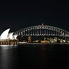 Sydney Harbour Bridge & Sydney Opera House at night by Tim Pruyn