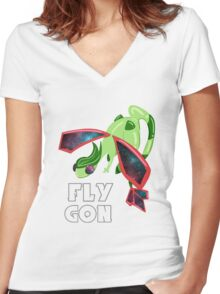 Galaxy Flygon Design Women's Fitted V-Neck T-Shirt