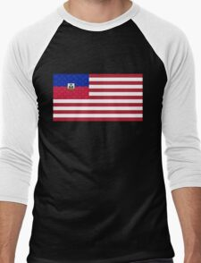 Haitian American Flag Men's Baseball ¾ T-Shirt