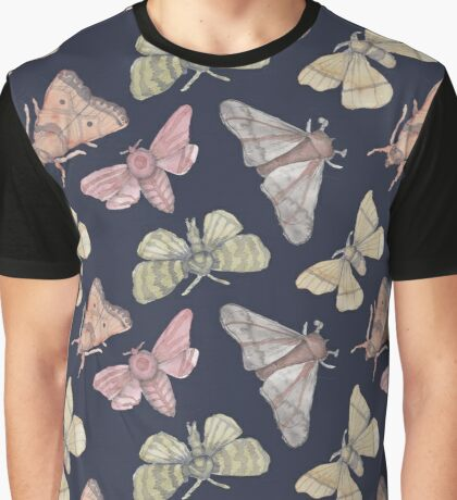 Moth pattern on navy blue Graphic T-Shirt