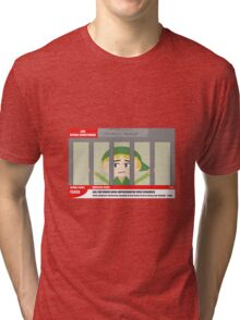 Link jailed for pottery damage (TV newsflash) Tri-blend T-Shirt