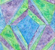 """Diamonds and Sapphire"" - Geometric Watercolor Painting by EphemeralStars"