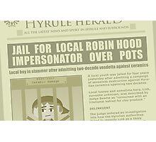 Zelda newspaper: Link jailed! Photographic Print