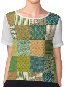 Earth Colours Abstract Patterns Faux Patchwork Chiffon Top