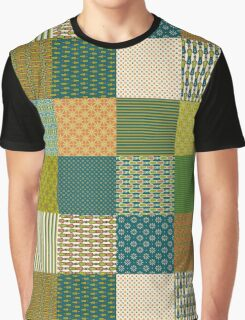 Earth Colours Abstract Patterns Faux Patchwork Graphic T-Shirt