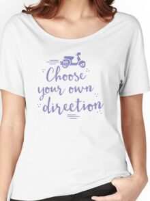choose your own direction (with moped in purple) Women's Relaxed Fit T-Shirt