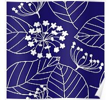 Floral Burst (Indigo) Poster