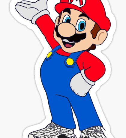 Super Mario Wearing Yeezy Boost 350 Sticker