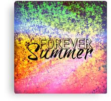 FOREVER SUMMER Happy Rainbow Colorful Typography Abstract Painting Canvas Print