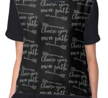 Choose your own path with arrow in grey Chiffon Top