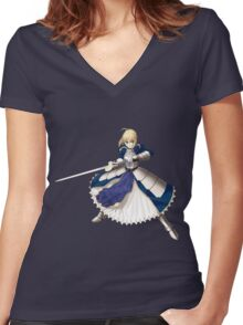 Fate/Stay Night - Saber Women's Fitted V-Neck T-Shirt