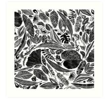 Lino cut printed pattern, nature inspired, handmade, black and white Art Print